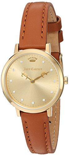 Couture Watch Brown Strap (Juicy Couture Women's 'LA Ultra Slim' Quartz Gold-Tone and Leather Quartz Watch, Color:Brown (Model:)