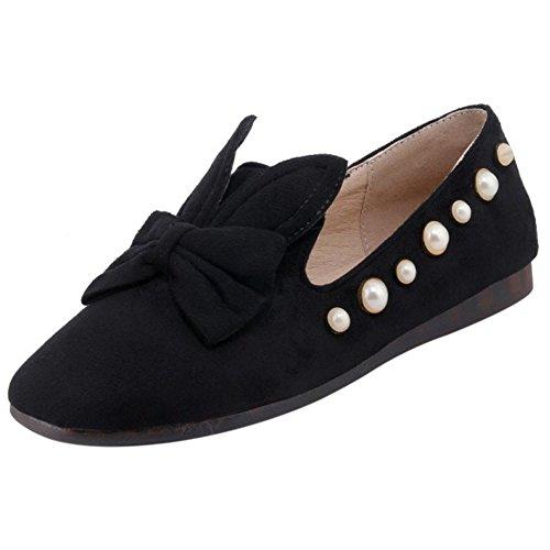 TAOFFEN Women's Cute Flat Pumps Shoes Black bfVM7L9