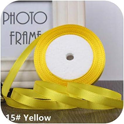 kawayi-桃 25ヤード/ロールグログランサテンリボン結婚式のクリスマスパーティーの装飾6mm-40mm DIY弓クラフトリボンカードギフト-Yellow-6mm