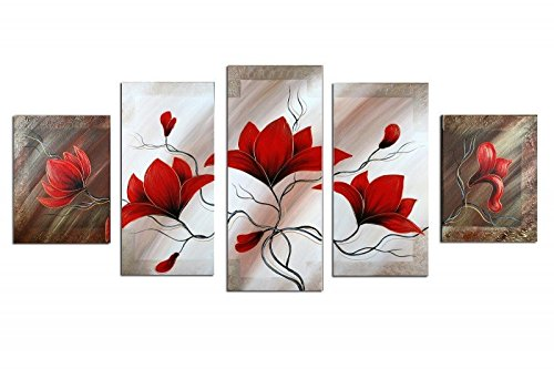 - Noah Art-Rustic Flower Artwork, Red Spring Tulips Flowers Picture 100% Hand Painted Floral Art Contemporary Flower Oil Paintings on Canvas, Large 5 Panel Framed Flower Wall Art for Bedroom Wall Decor