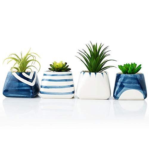 OYSIR Ceramic Succulent Planter Pot,White and Royal Blue Square Container Bonsai Planters with Hole,Flower pots for Indoor Window & Garden - Bonsai Blue
