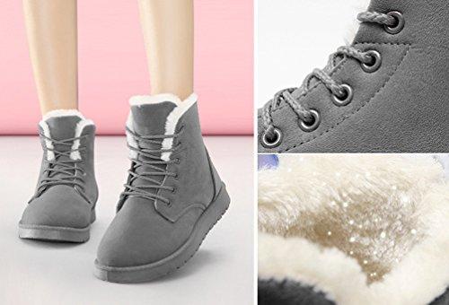 Up Mode Hiver Chaussures Neige Lace Bottes Cheville Court De Baymate Chaud Femme Gris qgwH8FYxU