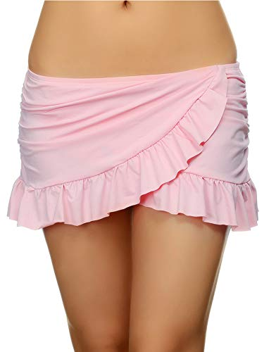 (DUSISHIDAN Women Pink Overlapping Ruffled Mini Swim Skirt with Panty,L US)