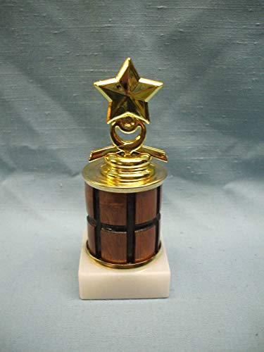 Star Column Trophy - Star Trophy Award White Marble Base Turned Wood Column
