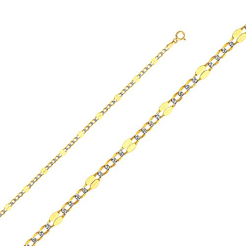 Tone Gold Pave Figaro Necklace (Wellingsale 14k Two Tone Yellow and White Gold SOLID 3.7mm Polished Stamped Figaro White Pave Diamond Cut Chain Necklace with Spring Ring Clasp - 24