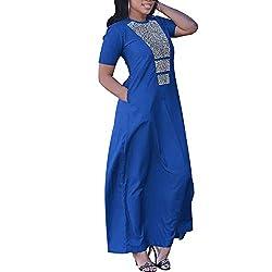 Blue Women Rhinestone Dashiki Top