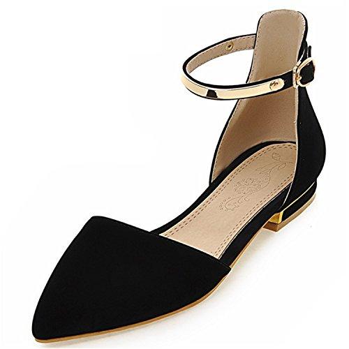 Sola 47 Puntas ForgetP Negro Talla Zapatos de Tacones Cuadrado Mujer Grande una Bajos tacón Zapatos Sandalias Verano Casual de Hebilla WHFnZgHY