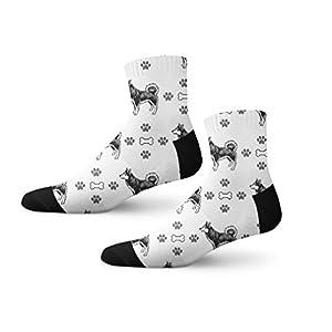 Funny Mens Socks Alaskan Klee Kai Dog Bones Paws Polyester Crazy Socks Womens 17