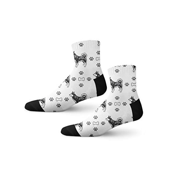Funny Mens Socks Alaskan Klee Kai Dog Bones Paws Polyester Crazy Socks Womens 1