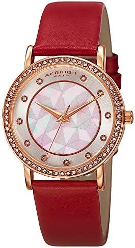 Akribos XXIV Women s Crystal-Accented Watch – Geo-Patterned Mother-of-Pearl Dial On Genuine Leather Band – AK791