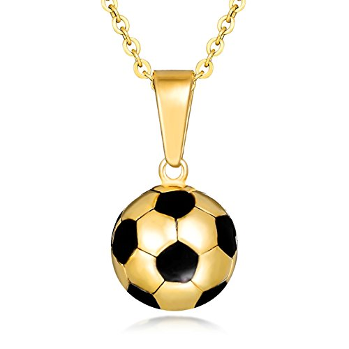 (Lazycat Stainless Steel Men and Boys Gold Plated Soccer Ball Pendant Football Necklace (Black))