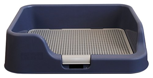 [DogCharge] Indoor Dog Potty Tray - With Protection Wall Every Side For No Leak, Spill, Accident - Keep Paws Dry And Floors Clean! 100% Satisfaction (Blue) ()