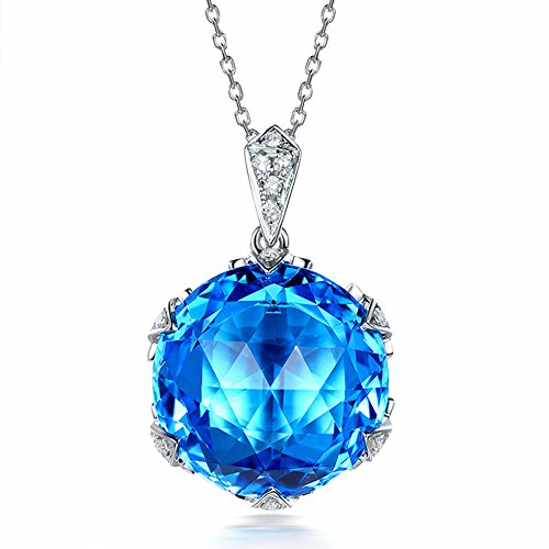 Fashion Jewelry Topaz Gemstone Necklace With Natural Diamond Solid 14K White Gold Engagement Promise Pendant Sets by Kardy
