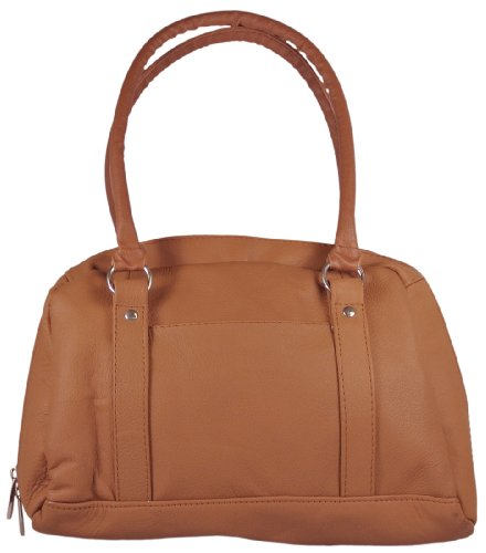 Genuine Leather Classic Satchel Zip Around Handbag with Organizer in Black or Brown Purse (Brown), Bags Central