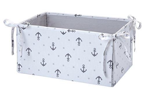 Storage Basket Underseat - Nautica Kids Separates Anchor/Dot Print Nursery Storage, Gray/White