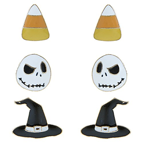ACCESSORIESFOREVER Halloween Costume Jewelry Candy Corn, Skull, Hat 3 Sets Mini Earrings E1221 (Candy Skull Costume)