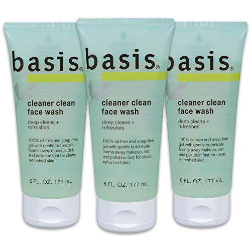 Basis Cleaner Clean Face Wash - Deep Cleans and Refreshes for Normal to Oily Skin, Oil-free, Soap Free - 6 fl. oz. (Pack of 3)
