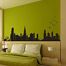 """Wall Decal Decor Chicago Skyline Wall Decal Art Vinyl Stick n peel Decal up to 100"""" Living Room Office Decor City Decals Many Colors and Sizes (16""""h x 45w"""",Brown)"""