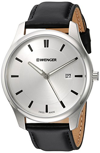 Wenger-Mens-City-Classic-Swiss-Quartz-Stainless-Steel-and-Leather-Casual-Watch-ColorBlack-Model-011441102