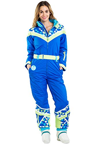 Women's Neon Ski Suit with Triangles - Vintage Inspired Snow Suit: L