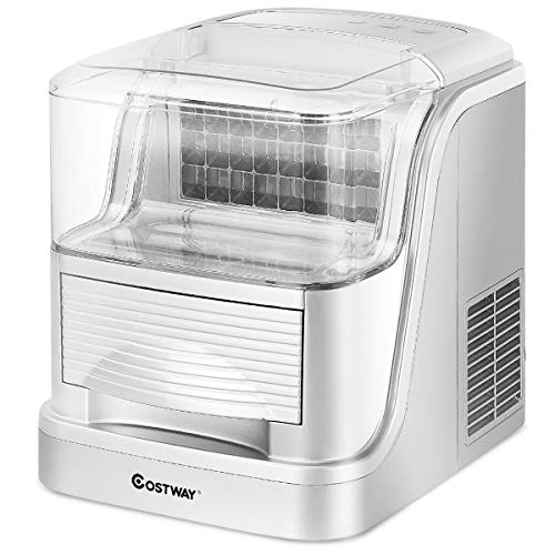 COSTWAY 33lbs Portable Ice Makers Large Capacity per 24 hours Compact Ice maker machine Automatic Clear Ice Cube Maker Storage Electric Easy Countertop
