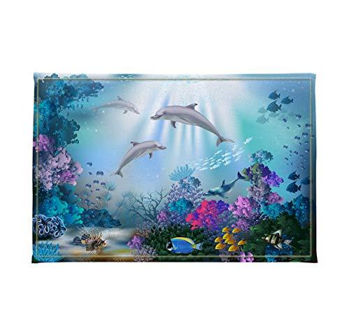 LB Underwater Animal Bathroom Mat Dolphin Fish Swim Coral Reef Kids Bathroom Rugs Soft Memory Foam Non-Slip Absorbent Bath Mat 16x24 Inch (Coral Reef Fish Cut Outs)
