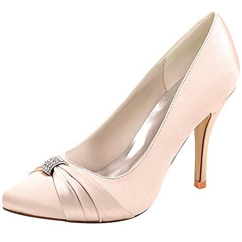 Loslandifen Femmes Satin Talons Hauts Pompes Pionted Toe Strass Chaussures De Mariée Mariage Champagne