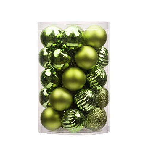 34Pcs Christmas Ball Ornaments Tree Balls Shatterproof Christmas Decorations Tree Bauble Balls 40mm Small for Holiday Wedding Party Decoration, Tree Ornaments Hooks (L)