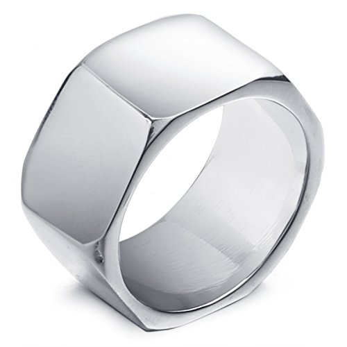 MENDINO Mens Stainless Steel Polished Hexagon Ring Silver Simple