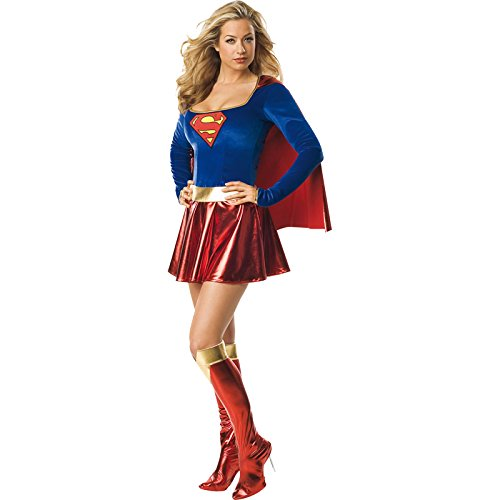 Halloween Costumes Womens (Secret Wishes  Supergirl Costume, Red/Blue, S (4/6))