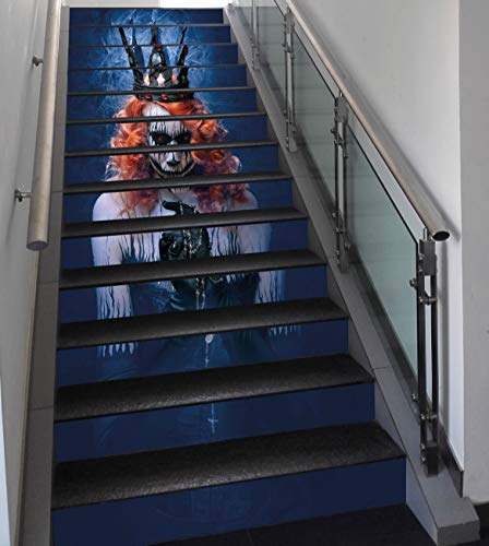 Stair Stickers Wall Stickers,13 PCS Self-adhesive,Queen,Queen of Death Scary Body Art Halloween Evil Face Bizarre Make Up Zombie,Navy Blue Orange Black,Stair Riser Decal for Living Room, Hall, Kids -
