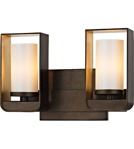 - Bathroom Vanity 2 Light with Bronze and Gold Leaf Finish Hand-Worked Wrought Iron and Glass Material Wedge Base 12 inch Wide 8 Watts