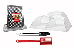 BBQ Accessories Grill & Picnic Bundle - 12+ pieces - Aluminum Foil Grill Toppers American Flag Spatula - White Pop-Up Food Tents and Steel Tongs …