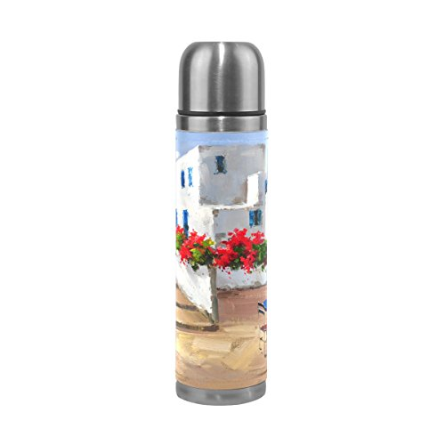 Vacuum Insulated Water Bottle Double Wall Stainless Steel Leak Proof Wide Mouth with Novelty Graphic Hand Painted Greek Landscape Compact Bottle Beverage (Hand Painted 1 Liter Carafe)