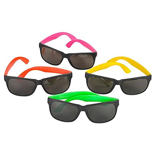 12 Pack of 80s Style Neon Party Sunglasses - Great Gifts, Party Favors, Party Toys, Goody Bag Favors - Style 80s Glasses