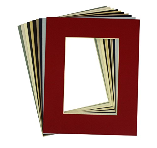 Mat Board Center, High Quality Pack of 20, 8x10 Assorted Mix Colors White Core Picture Mats Mattes Matting for 5x7 Photo