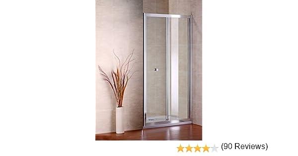 Mampara de ducha de cristal de doble plegado AICA, perfil cromado y transparente, vidrio, Chrome Profile , clear Glass, 800mm Width: Amazon.es: Hogar