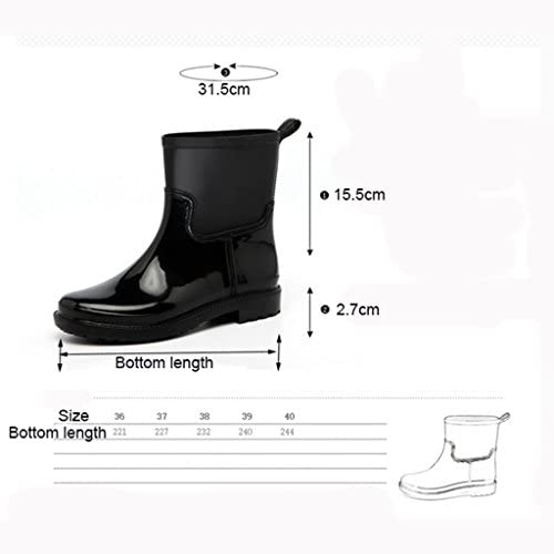 Rain Boots Fashion Waterproof, Spring and Summer Tube Waterproof Boots Anti-Skid Water Shoes Shoes Rubber Shoes Adult Boots Women (Color : B, Size : 39#)