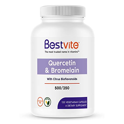 (Quercetin with Bromelain 500mg/250mg (120 Vegetarian Capsules) with Citrus Bioflavanoids - No Stearates )