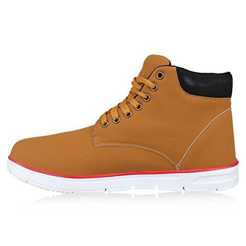 Herren Sneaker High Basic Turnschuhe Leder-Optik Schuhe Freizeitschuhe Schnürer Schnürschuhe Flandell Hellbraun Schwarz