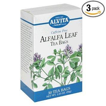 Alvita sachets de thé, feuilles de luzerne, sans caféine, 30 sachets de thé [1,25 oz (35 g)] (pack de 3)