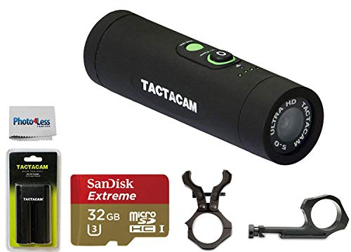 Tactacam Ultimate 5.0 Gun Package Wi-Fi-Hunting Action Camera + Free Extra Rechargeable Battery + 32GB UHS-I/U3 Micro SDHC Memory Card with Adapter + 2 Gun Mounts + Clean Cloth