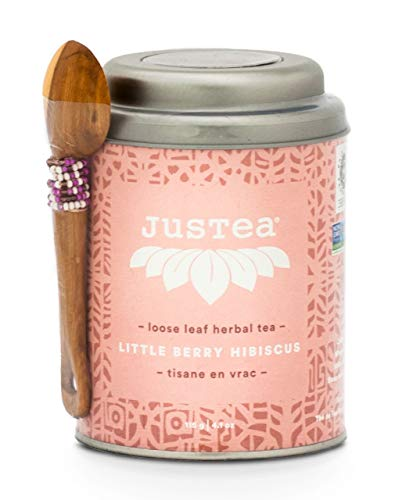 JusTea Little Berry Hibiscus | Loose Leaf Herbal Tea with Hand Carved Tea Spoon | Over 40 cups 3.2 Ounce Tin | No Caffeine | Award-Winning | Fair Trade | - Tins Personalized Tea