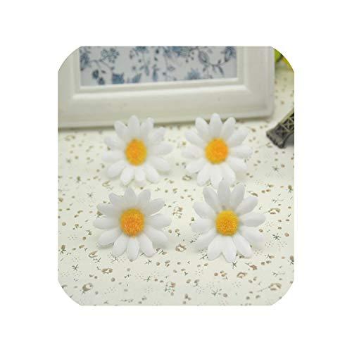 100pcs/lot 3cm Sunflower Gerbera Artificial Flowers Head Wedding Decoration,White