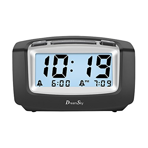 DreamSky Dual Alarm Clock With Smart Adjustable Nightlight , Snooze , Large LCD Display , Portable Battery Operated , Ascending Alarms Sound , Simple Operate Clock For Bedroom Kids