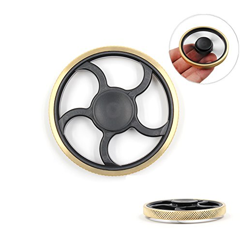 QUANRAN Hand Spinner EDC Focus Anti-Anxiety Stress Relief Toy, Ultra Durable Stainless Steel Bearing High Speed Boredom Killing Time Toys (Gold and Black)