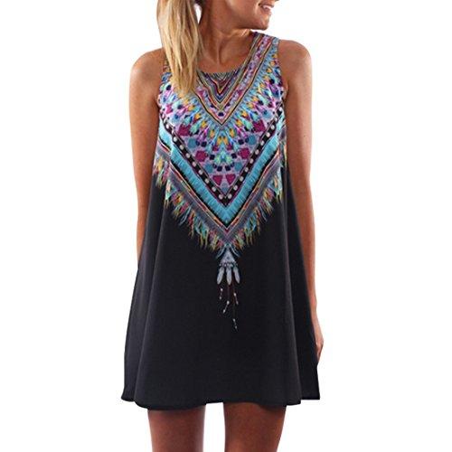 Shinekoo Damen A-linie Ärmellos Sommerkleid Minikleid Strandkleid Partykleid  Rundhals Rock Mädchen Blumen Drucken Kleider 12e1a40333