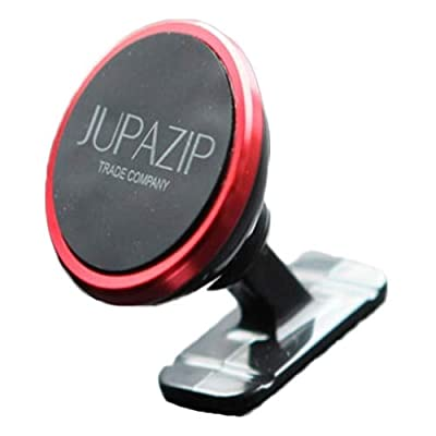 "CNC Jupazip Cellphone Dashboard Air Vent Holder,2 in 1, Rare-Earth Permanent Magnet, 1.31"" Inch (Red)"