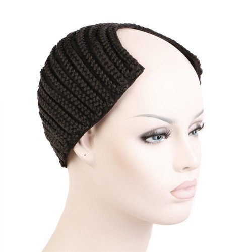 [Creamily Cornrows Cap Cbwigs Wave Cap Braided Wig Cap for Easier Sew Hair Weft Designed with Combs Medium Cap (Black U-Part] (Cornrow Wigs)