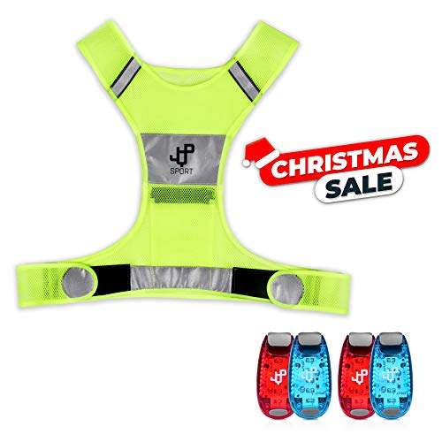 JQP Sports Running Vest and 4 LED Safety Light Set (4-Pack and 3 BONUSES) The...